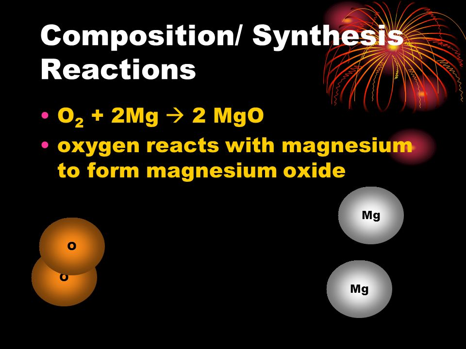 Composition/ Synthesis Reactions A + X  AX An element may react with oxygen to form the oxide (oxidation) A X