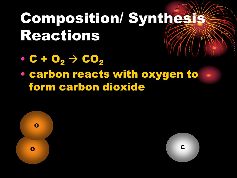 Composition/ Synthesis Reactions O 2 + 2Mg  2 MgO oxygen reacts with magnesium to form magnesium oxide O Mg O