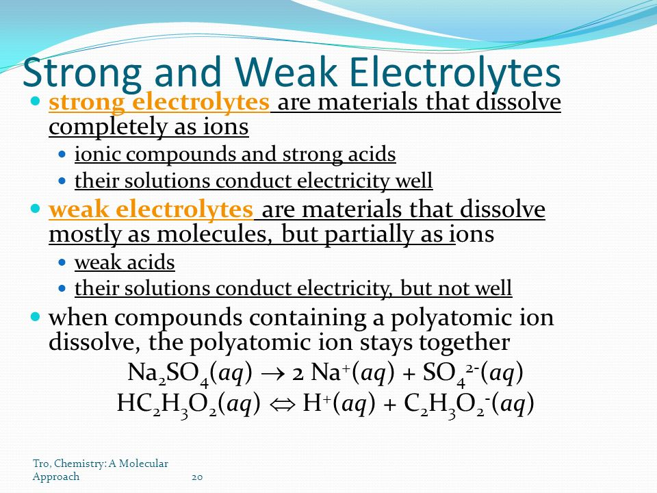 Tro, Chemistry: A Molecular Approach20 Strong and Weak Electrolytes strong electrolytes are materials that dissolve completely as ions ionic compounds and strong acids their solutions conduct electricity well weak electrolytes are materials that dissolve mostly as molecules, but partially as ions weak acids their solutions conduct electricity, but not well when compounds containing a polyatomic ion dissolve, the polyatomic ion stays together Na 2 SO 4 (aq)  2 Na + (aq) + SO 4 2- (aq) HC 2 H 3 O 2 (aq)  H + (aq) + C 2 H 3 O 2 - (aq)