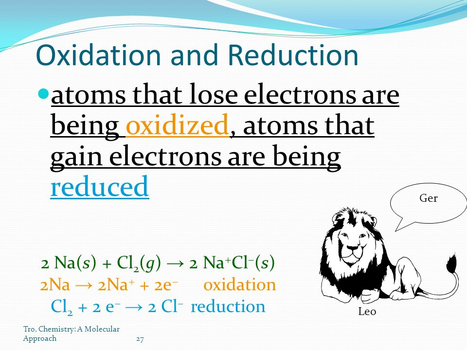 Tro, Chemistry: A Molecular Approach27 Oxidation and Reduction atoms that lose electrons are being oxidized, atoms that gain electrons are being reduced 2 Na(s) + Cl 2 (g) → 2 Na + Cl – (s) 2Na → 2Na + + 2e – oxidation Cl e – → 2 Cl – reduction Leo Ger