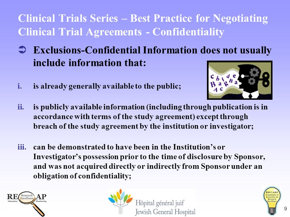 1 reqap care welcomes you to the clinical trials series 9 9 clinical trials series best practice for negotiating clinical trial agreements confidentiality exclusions confidential information does not platinumwayz