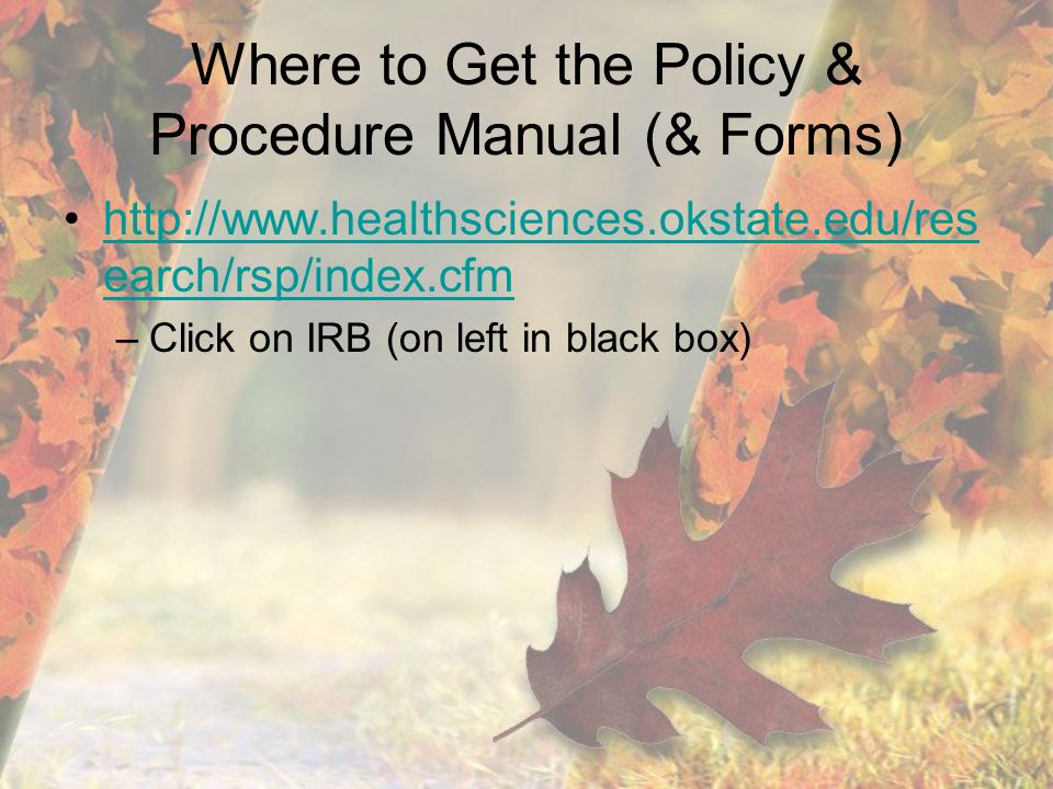 Where to Get the Policy & Procedure Manual (& Forms)   earch/rsp/index.cfmhttp://  earch/rsp/index.cfm –Click on IRB (on left in black box)