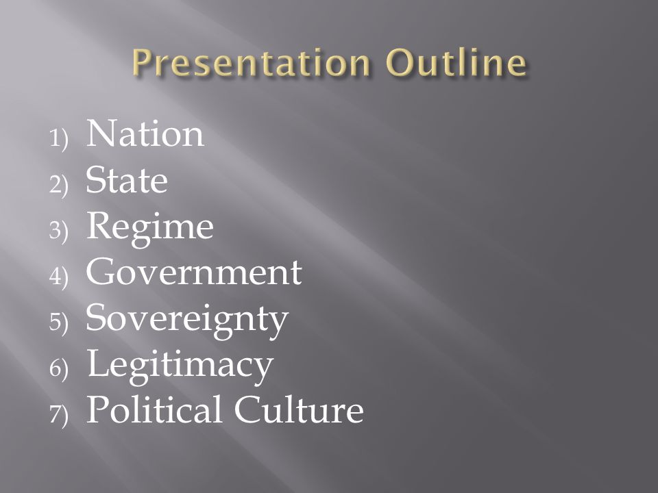 1) Nation 2) State 3) Regime 4) Government 5) Sovereignty 6) Legitimacy 7) Political Culture
