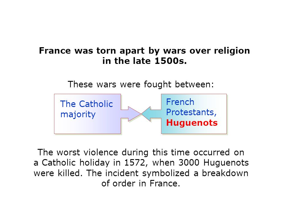 French Protestants, Huguenots France was torn apart by wars over religion in the late 1500s.