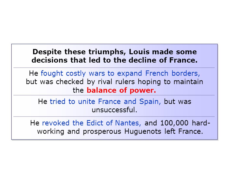 Despite these triumphs, Louis made some decisions that led to the decline of France.