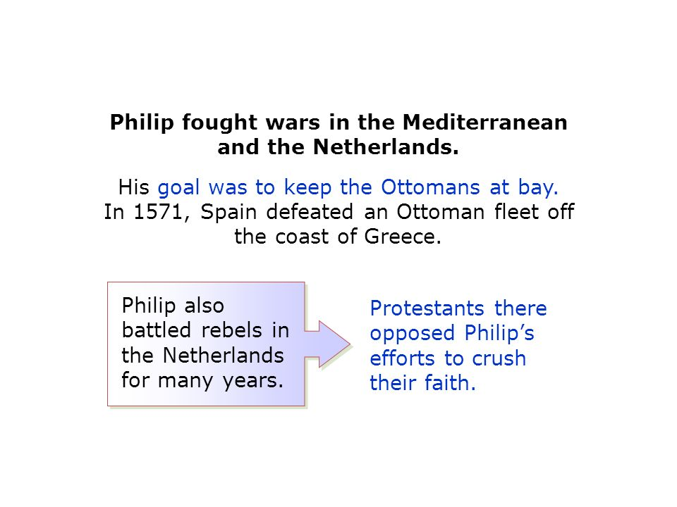 Philip fought wars in the Mediterranean and the Netherlands.
