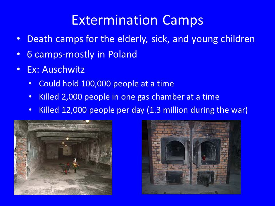 Extermination Camps Death camps for the elderly, sick, and young children 6 camps-mostly in Poland Ex: Auschwitz Could hold 100,000 people at a time Killed 2,000 people in one gas chamber at a time Killed 12,000 people per day (1.3 million during the war)