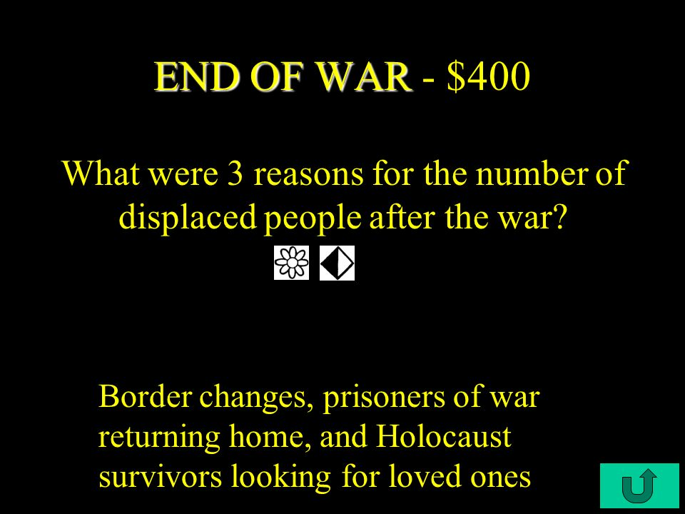 C4-$300 END OF THE WAR END OF THE WAR - $300 What were 2 consequences of the war.