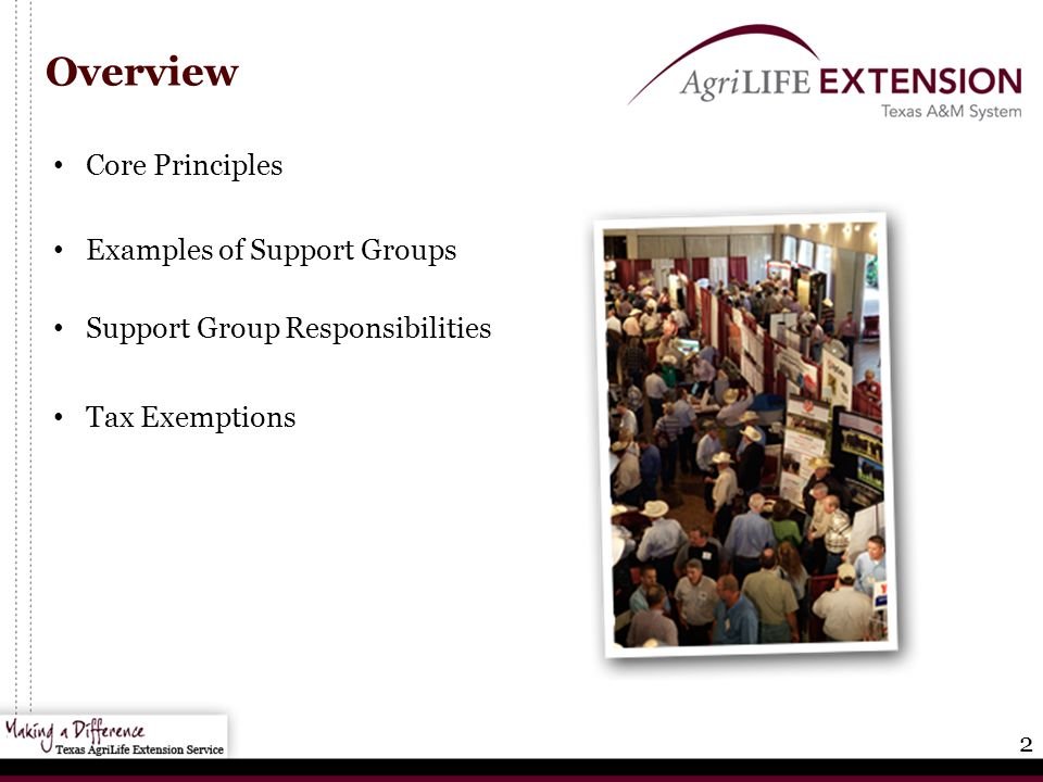 2 Overview Core Principles Examples of Support Groups Support Group Responsibilities Tax Exemptions