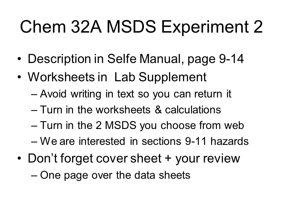 MSDS Material Safety Data Sheets How toxic is that chemical If a – Msds Worksheet