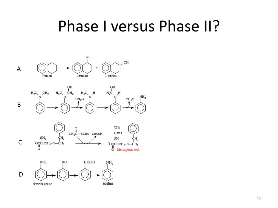 Phase I versus Phase II 12 A B C D