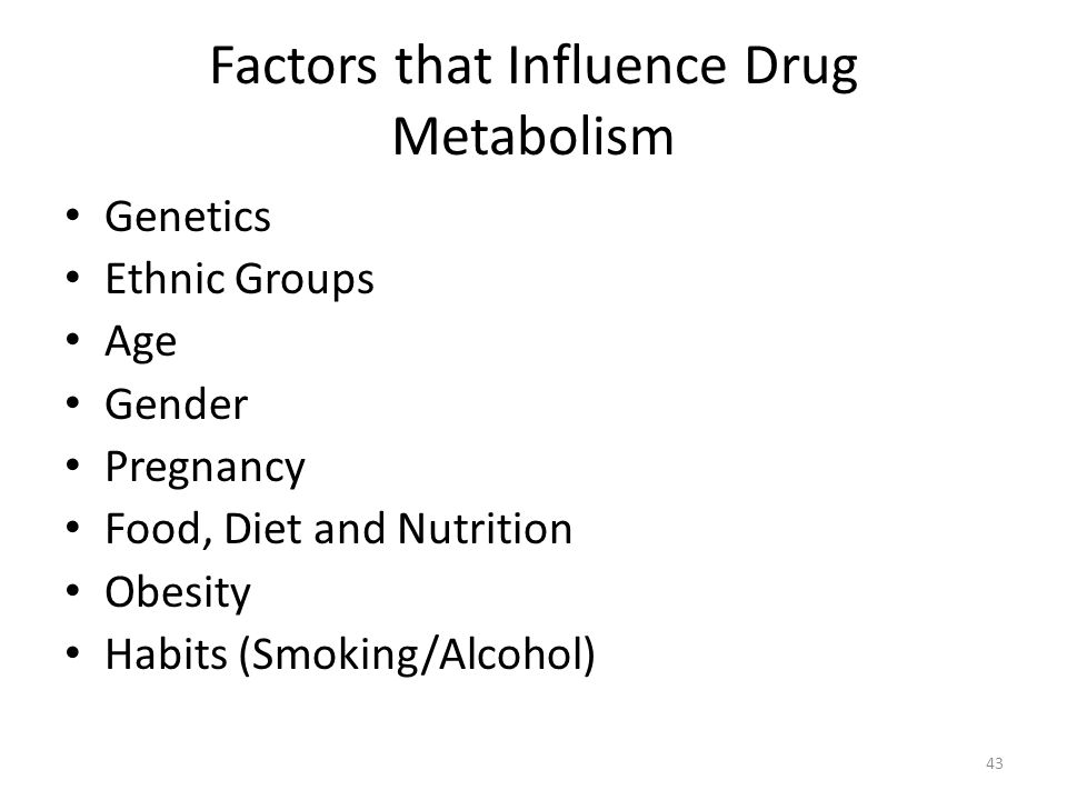 Factors that Influence Drug Metabolism Genetics Ethnic Groups Age Gender Pregnancy Food, Diet and Nutrition Obesity Habits (Smoking/Alcohol) 43