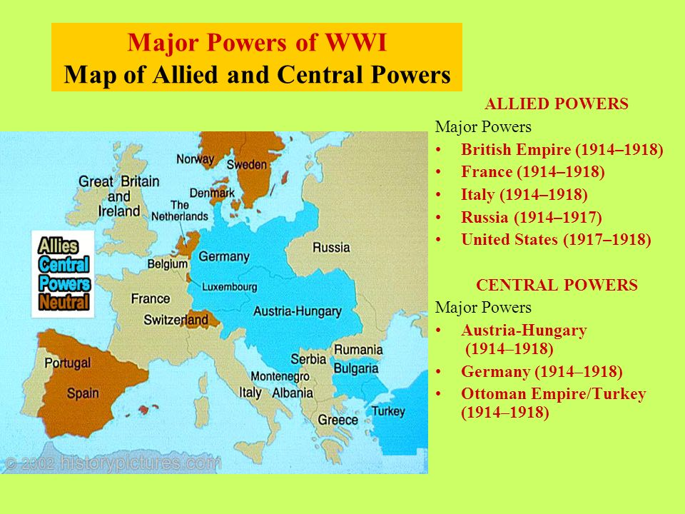 2 Major Powers Of Wwi Map Of Allied