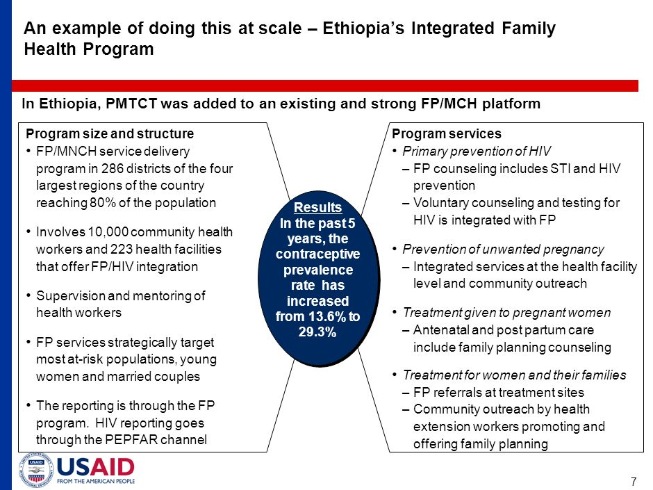 7 An example of doing this at scale – Ethiopia's Integrated Family Health Program In Ethiopia, PMTCT was added to an existing and strong FP/MCH platform Results In the past 5 years, the contraceptive prevalence rate has increased from 13.6% to 29.3% Results In the past 5 years, the contraceptive prevalence rate has increased from 13.6% to 29.3% Program size and structure FP/MNCH service delivery program in 286 districts of the four largest regions of the country reaching 80% of the population Involves 10,000 community health workers and 223 health facilities that offer FP/HIV integration Supervision and mentoring of health workers FP services strategically target most at-risk populations, young women and married couples The reporting is through the FP program.