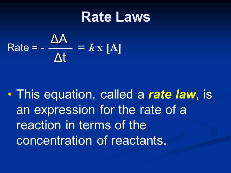 Rate Laws ΔA ΔA Δt Δt This equation, called a rate law, is an expression for the rate of a reaction in terms of the concentration of reactants.