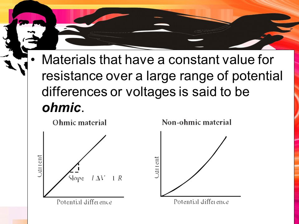 Materials that have a constant value for resistance over a large range of potential differences or voltages is said to be ohmic.
