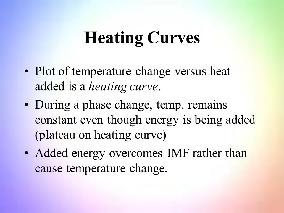 Heating Curves Plot of temperature change versus heat added is a heating curve.