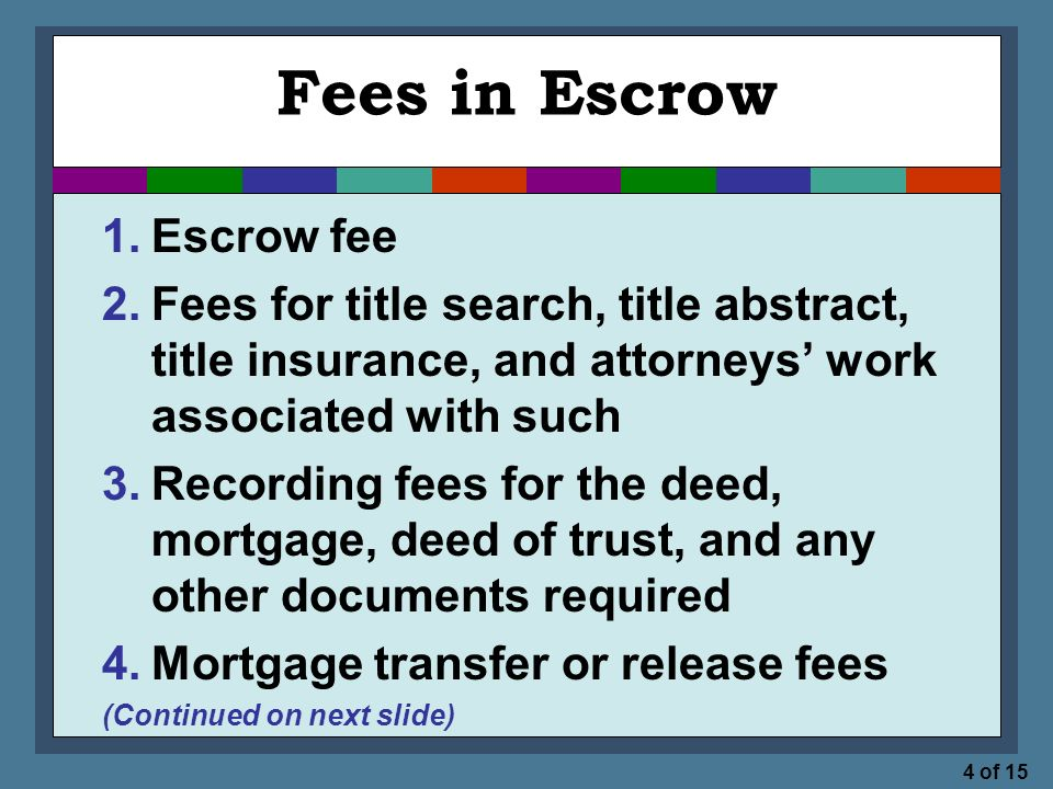 4 of 15 Fees in Escrow 1.Escrow fee 2.Fees for title search, title abstract, title insurance, and attorneys' work associated with such 3.Recording fees for the deed, mortgage, deed of trust, and any other documents required 4.Mortgage transfer or release fees (Continued on next slide)