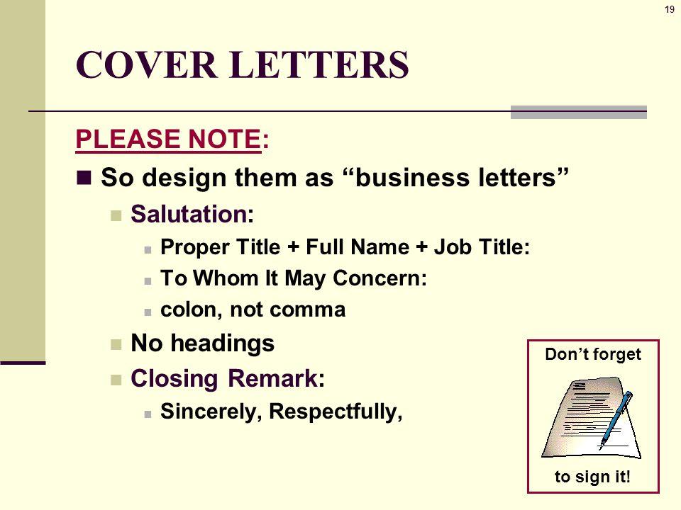 Cover letter Opening salutation  WordReference Forums