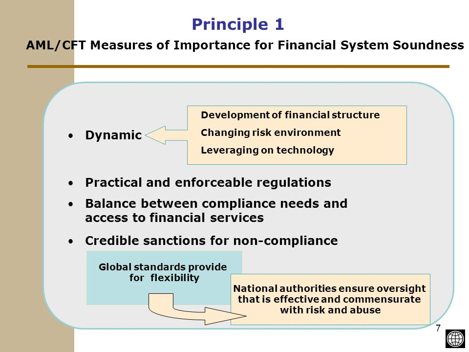 7 Principle 1 Dynamic Practical and enforceable regulations Balance between compliance needs and access to financial services Credible sanctions for non-compliance Global standards provide for flexibility National authorities ensure oversight that is effective and commensurate with risk and abuse Development of financial structure Changing risk environment Leveraging on technology AML/CFT Measures of Importance for Financial System Soundness