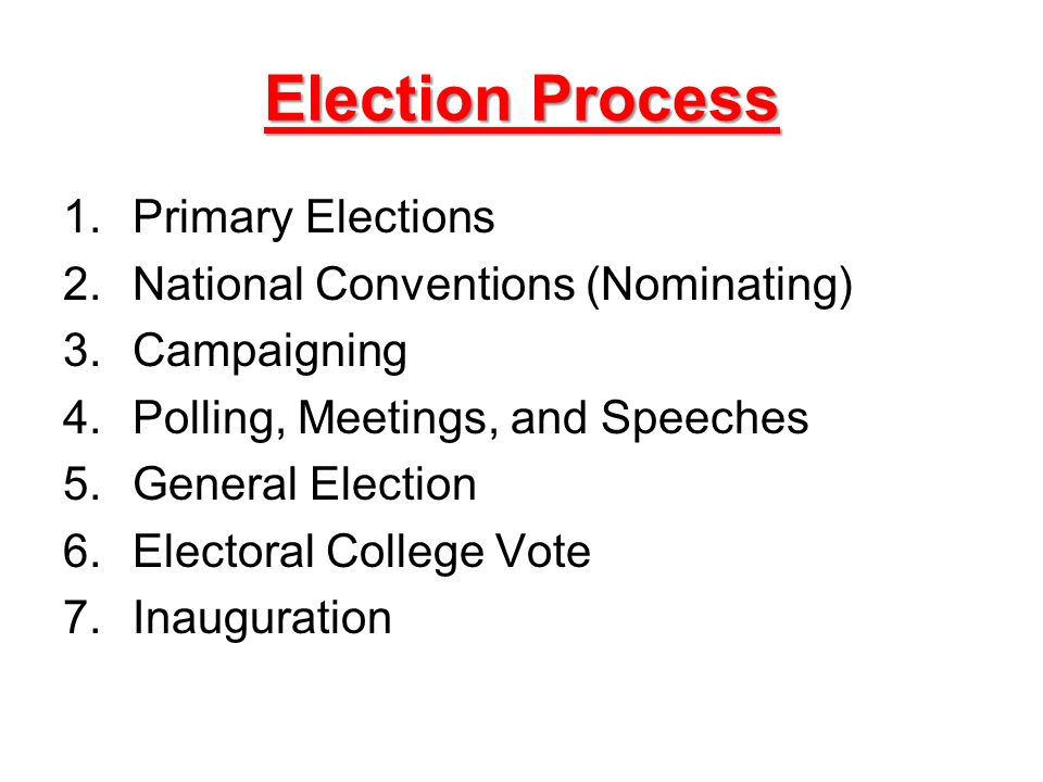 Election Process 1.Primary Elections 2.National Conventions (Nominating) 3.Campaigning 4.Polling, Meetings, and Speeches 5.General Election 6.Electoral College Vote 7.Inauguration