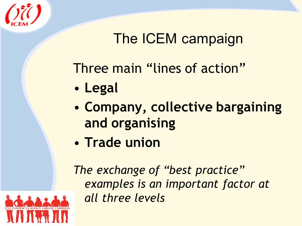The ICEM campaign Three main lines of action Legal Company, collective bargaining and organising Trade union The exchange of best practice examples is an important factor at all three levels