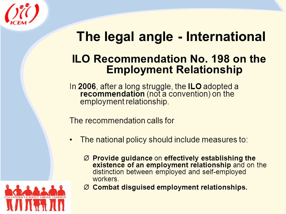 The legal angle - International ILO Recommendation No.