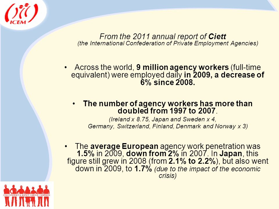 From the 2011 annual report of Ciett (the International Confederation of Private Employment Agencies) Across the world, 9 million agency workers (full-time equivalent) were employed daily in 2009, a decrease of 6% since 2008.