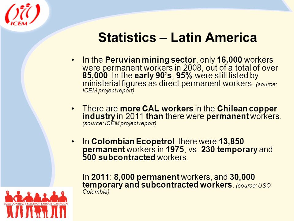 Statistics – Latin America In the Peruvian mining sector, only 16,000 workers were permanent workers in 2008, out of a total of over 85,000.