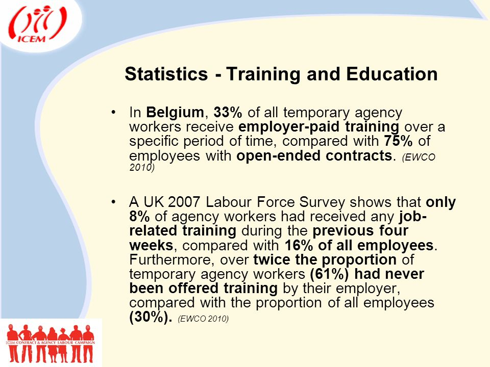 Statistics - Training and Education In Belgium, 33% of all temporary agency workers receive employer-paid training over a specific period of time, compared with 75% of employees with open-ended contracts.