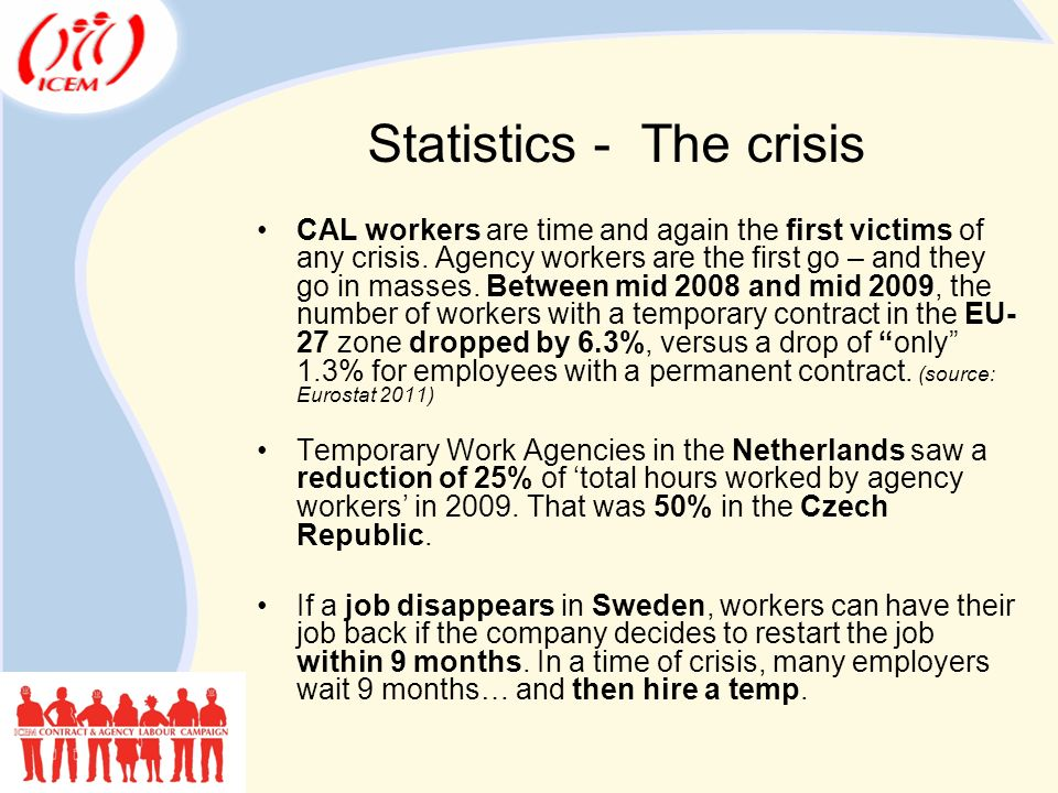 Statistics - The crisis CAL workers are time and again the first victims of any crisis.
