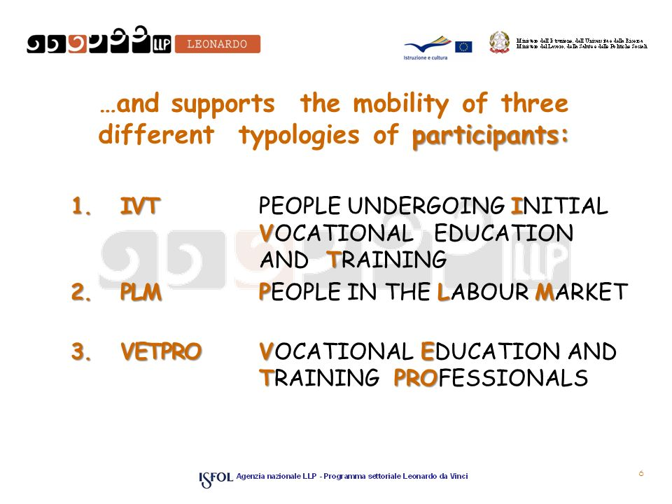 participants: …and supports the mobility of three different typologies of participants: 1.IVTI V T 1.IVT PEOPLE UNDERGOING INITIAL VOCATIONAL EDUCATION AND TRAINING 2.PLMPLM 2.PLM PEOPLE IN THE LABOUR MARKET 3.VETPROVE TPRO 3.VETPRO VOCATIONAL EDUCATION AND TRAINING PROFESSIONALS 6