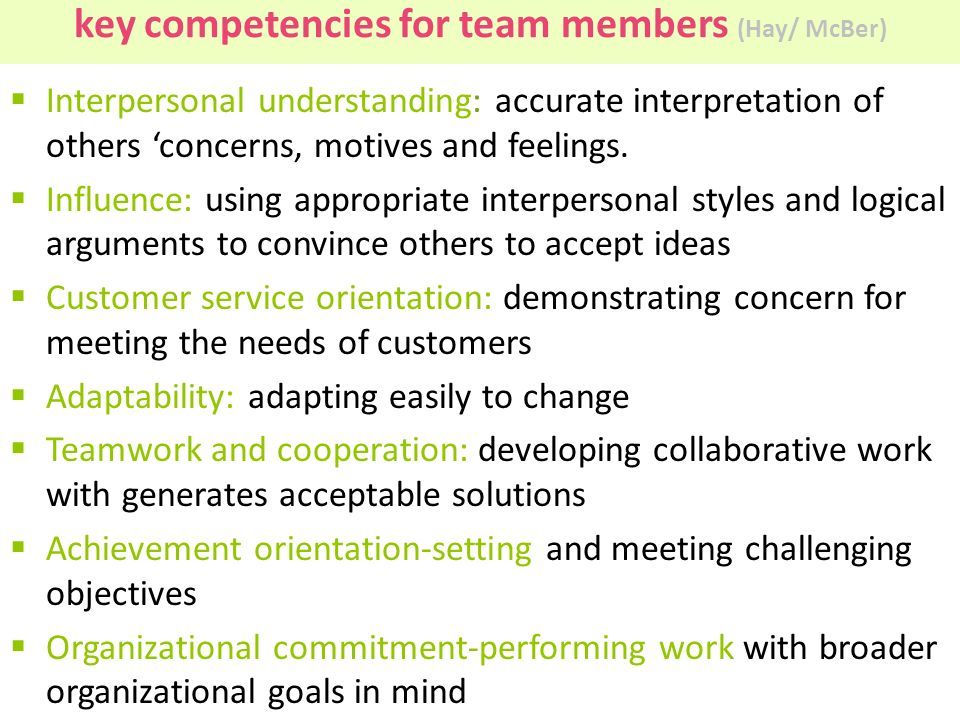 key competencies for team members (Hay/ McBer)  Interpersonal understanding: accurate interpretation of others 'concerns, motives and feelings.  Inf