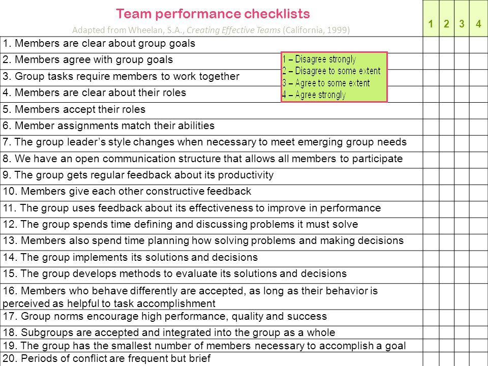 Adapted from Wheelan, S.A., Creating Effective Teams (California, 1999) 1234 1. Members are clear about group goals 2. Members agree with group goals