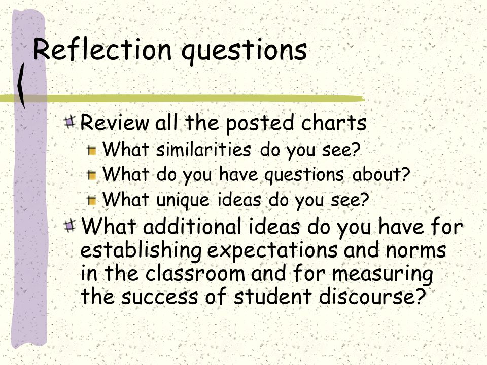Assessing Discourse Review the chart on page 288 in the article Assess the predominant level of discourse for each of your classes (0-3) With a partner Share your assessment Discuss where it is most difficult to make the move – from level 0 to 1, level 1 to 2, or level 2 to 3?