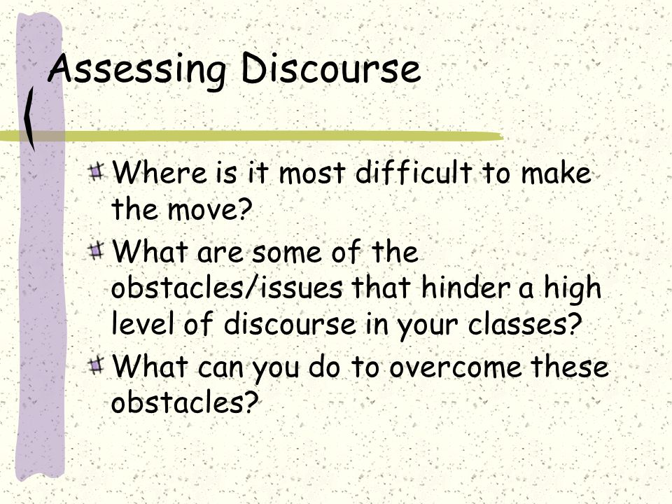 Article Discussion Read your assigned article Connecting Research to Teaching – Making the Right (Discourse) Moves: Facilitating Discussions in the Mathematics Classroom Making the Most of Mathematical Discussions Reflect on the following questions What strategies shared in the article will assist in increasing the level of discourse in the classroom.