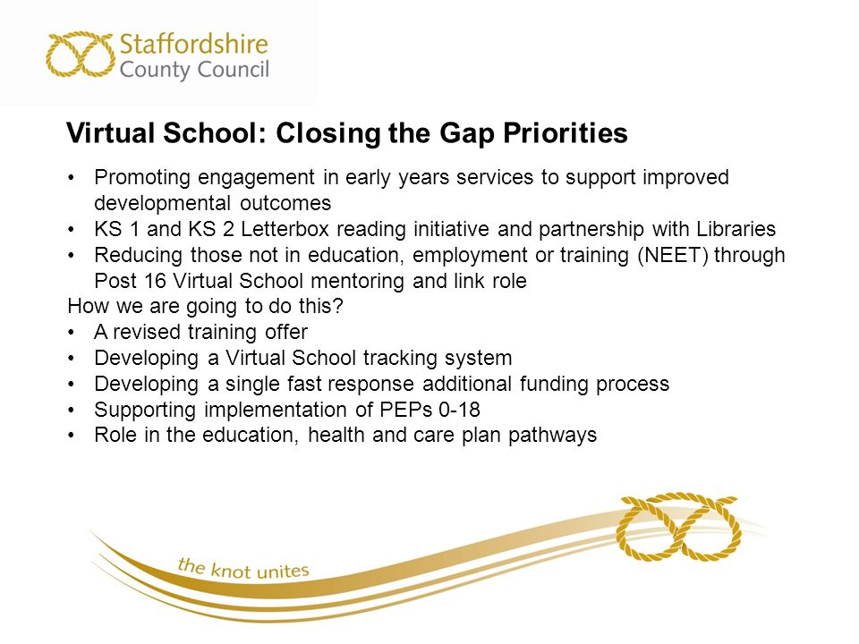 Virtual School: Closing the Gap Priorities Promoting engagement in early years services to support improved developmental outcomes KS 1 and KS 2 Letterbox reading initiative and partnership with Libraries Reducing those not in education, employment or training (NEET) through Post 16 Virtual School mentoring and link role How we are going to do this.