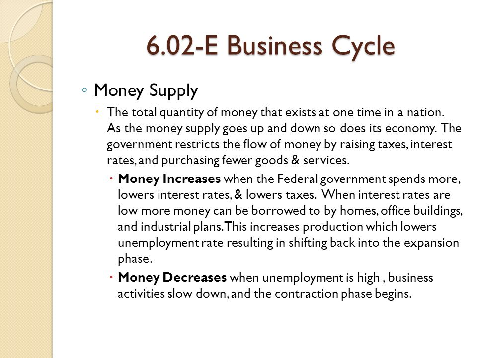 6.02-E Business Cycle ◦ Money Supply  The total quantity of money that exists at one time in a nation.