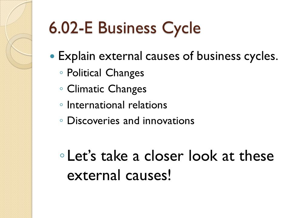 6.02-E Business Cycle Explain external causes of business cycles.
