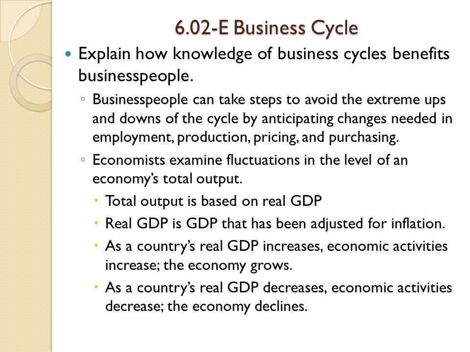 6.02-E Business Cycle Explain how knowledge of business cycles benefits businesspeople.