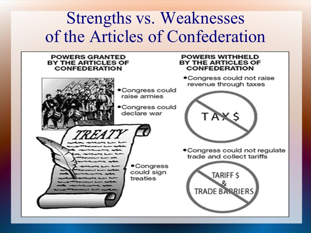 weaknesses articles confederation essay