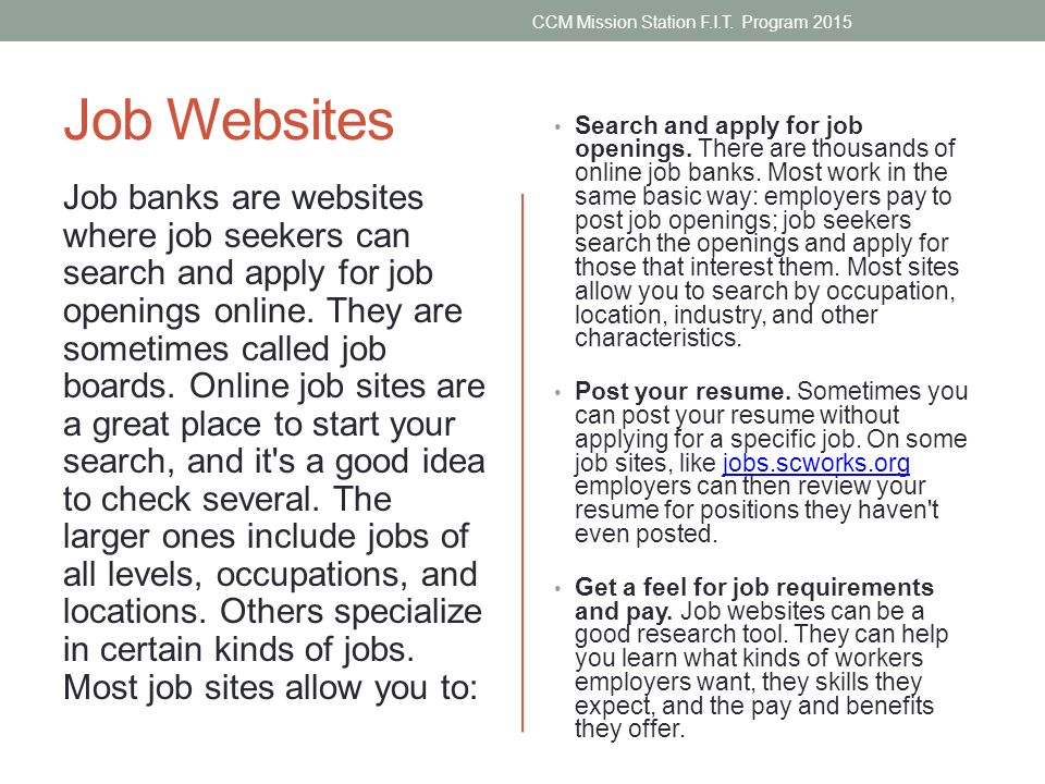 searching for a job ccm mission station f i t program ppt download