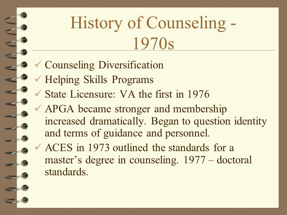 counseling is a relatively new profession