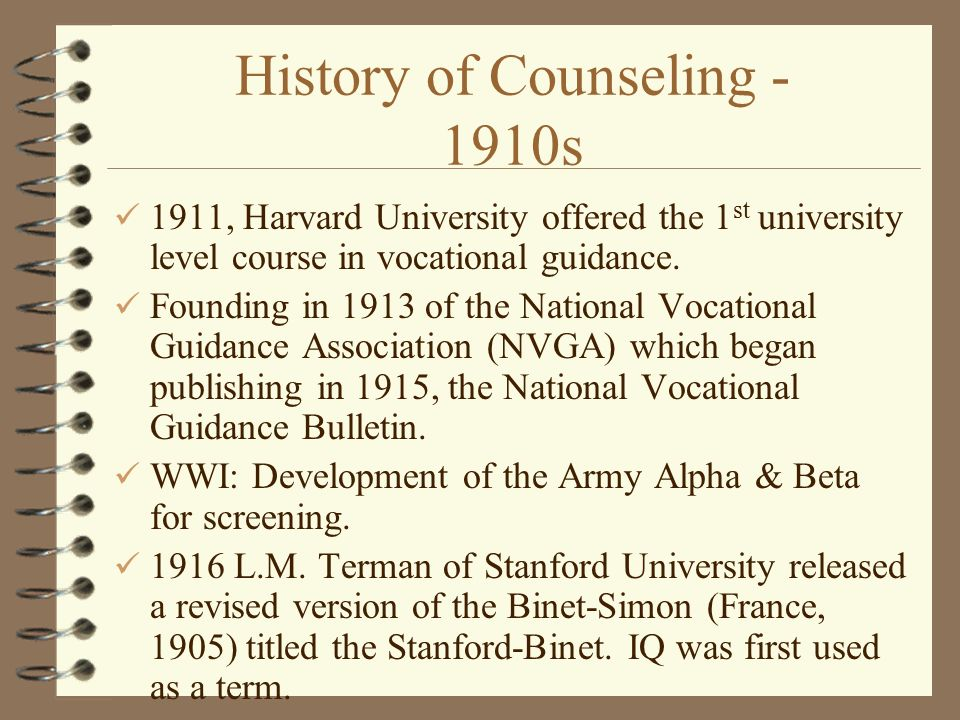 history of counseling Significant events in the history of addiction treatment and recovery in america 1750 to early 1800s alcoholic mutual aid societies.