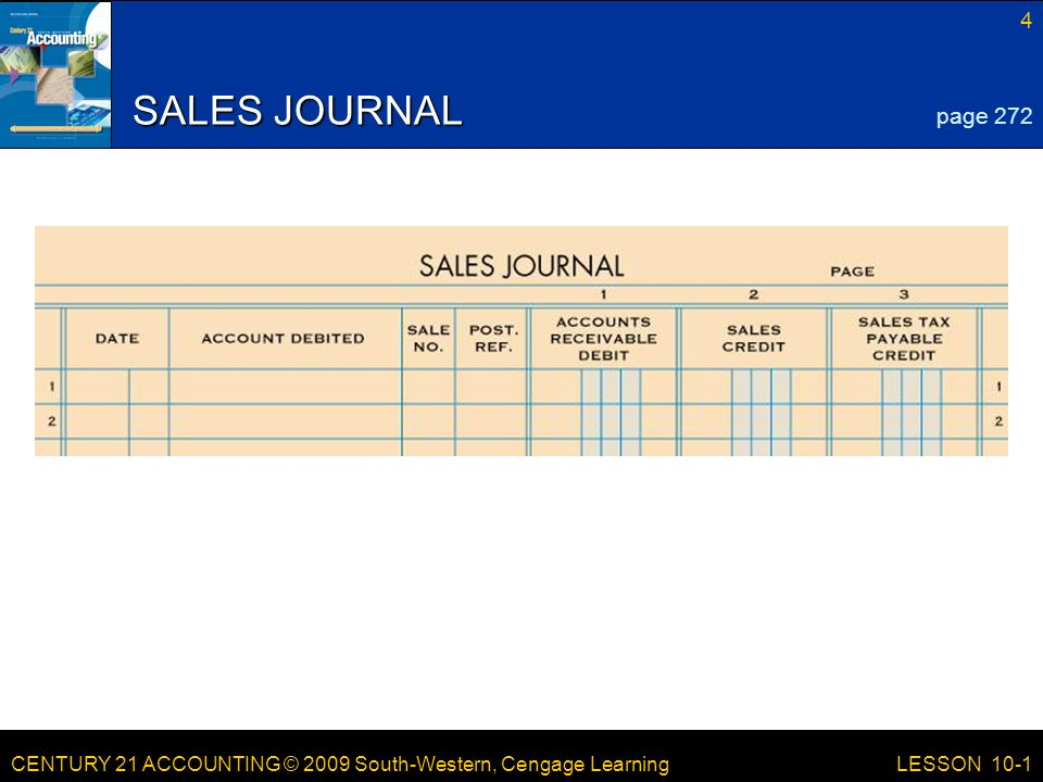 CENTURY 21 ACCOUNTING © 2009 South-Western, Cengage Learning 4 LESSON 10-1 SALES JOURNAL page 272