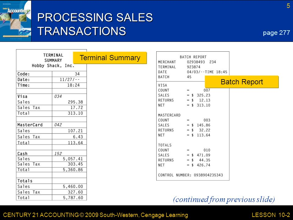 CENTURY 21 ACCOUNTING © 2009 South-Western, Cengage Learning 5 LESSON 10-2 PROCESSING SALES TRANSACTIONS page 277 Terminal Summary Batch Report (continued from previous slide)