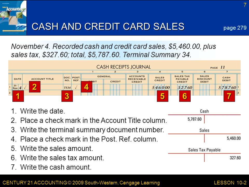 CENTURY 21 ACCOUNTING © 2009 South-Western, Cengage Learning 7 LESSON 10-2 CASH AND CREDIT CARD SALES page 279 November 4.