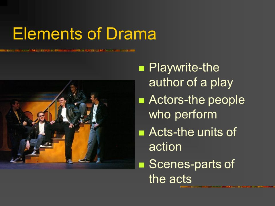 Elements of Drama Playwrite-the author of a play Actors-the people who perform Acts-the units of action Scenes-parts of the acts