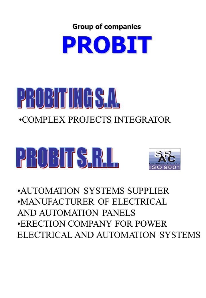 PROBIT COMPLEX PROJECTS INTEGRATOR AUTOMATION SYSTEMS SUPPLIER MANUFACTURER OF ELECTRICAL AND AUTOMATION PANELS ERECTION COMPANY FOR POWER ELECTRICAL AND AUTOMATION SYSTEMS