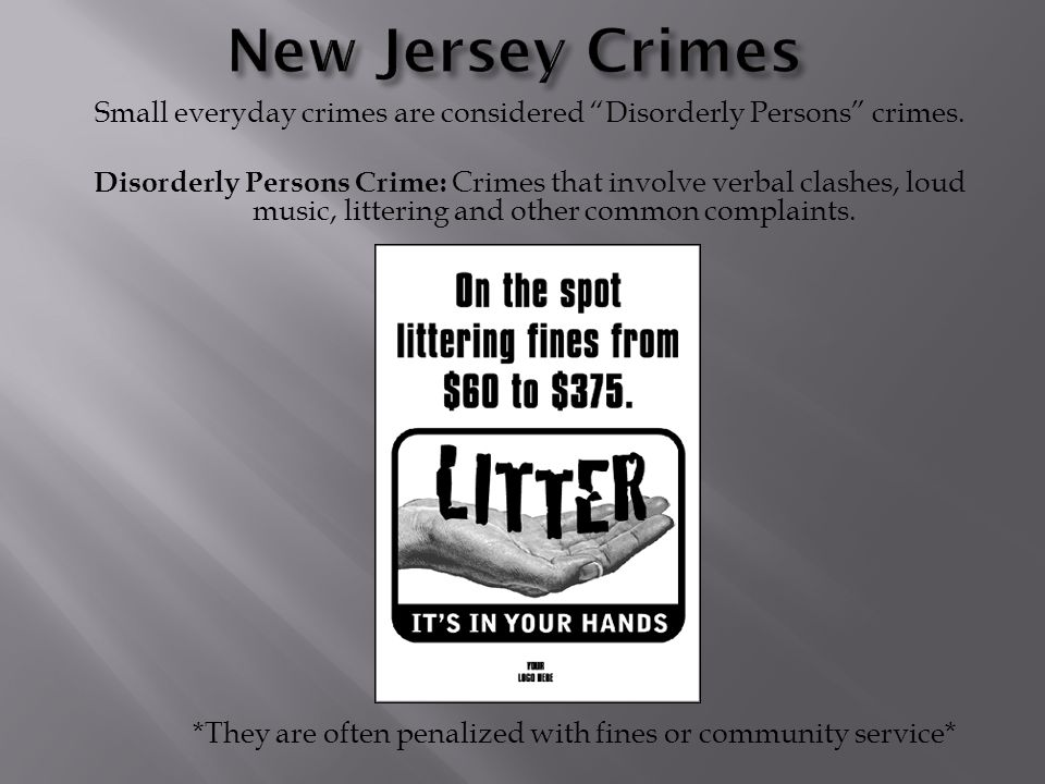 Small everyday crimes are considered Disorderly Persons crimes.